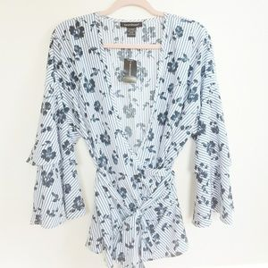 NWT Ashley Stewart White & Blue Floral Blouse
